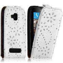 Karylax - Housse Coque Etui Pour Nokia Lumia 610 Style Diamant Couleur Blanc