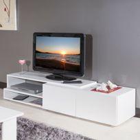 - Meuble tv 2 tiroirs blanc 168 cm
