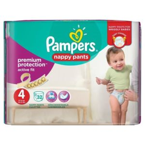 Pampers premium active fit pants taille 4 8 14 kg 32 for Pampers couche piscine