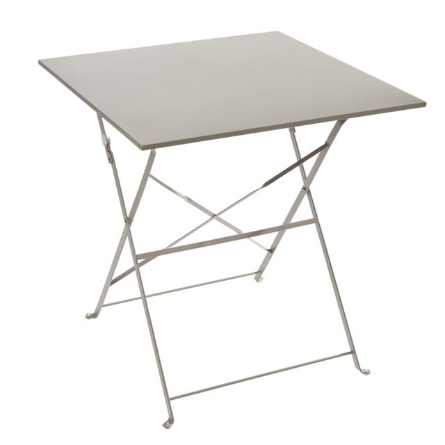 carrefour table pliante m tal taupe pas cher achat. Black Bedroom Furniture Sets. Home Design Ideas
