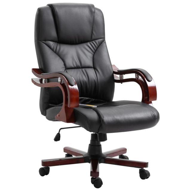 Chaise de Bureau Noir Similicuir Siège Fauteuil d'Ordinateur Maison