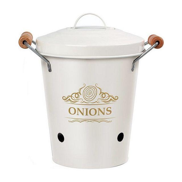 Totalcadeau Boîte en métal avec anses et couvercle Blanc pour Onions 19 x 20 x 19 cm