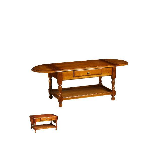 Table basse 2 abattants 1 tiroir en merisier massif Style Louis Philippe