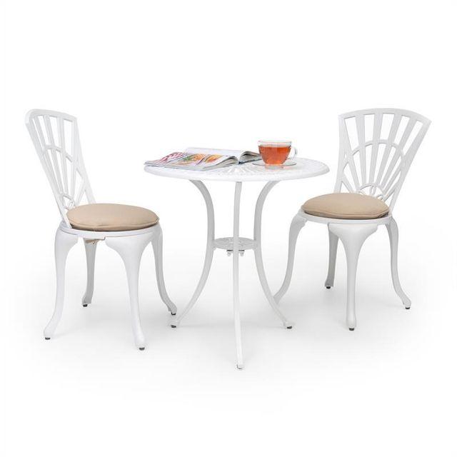 BLUMFELDT Valletta Set bistrot table 2 chaises & coussins alu moulé - blanc