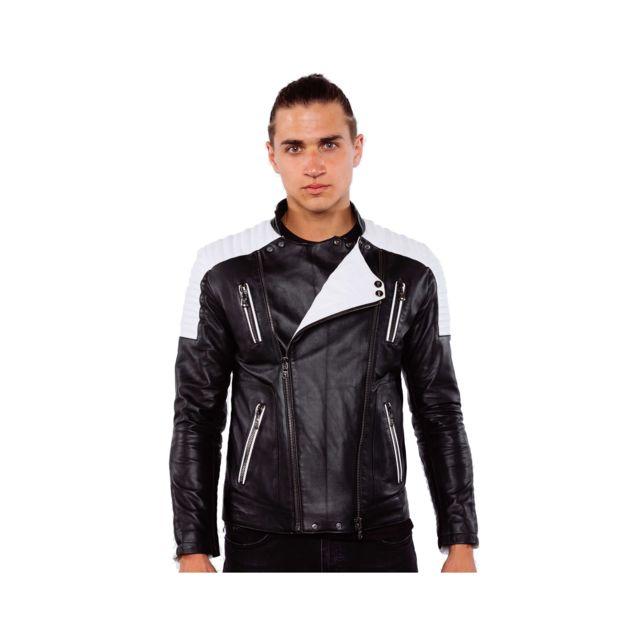 VENTIUNO ALEX Veste motard en cuir d'agneau blanc et noirdoudoune , fourrure, veste, doudoune, cuir, homme