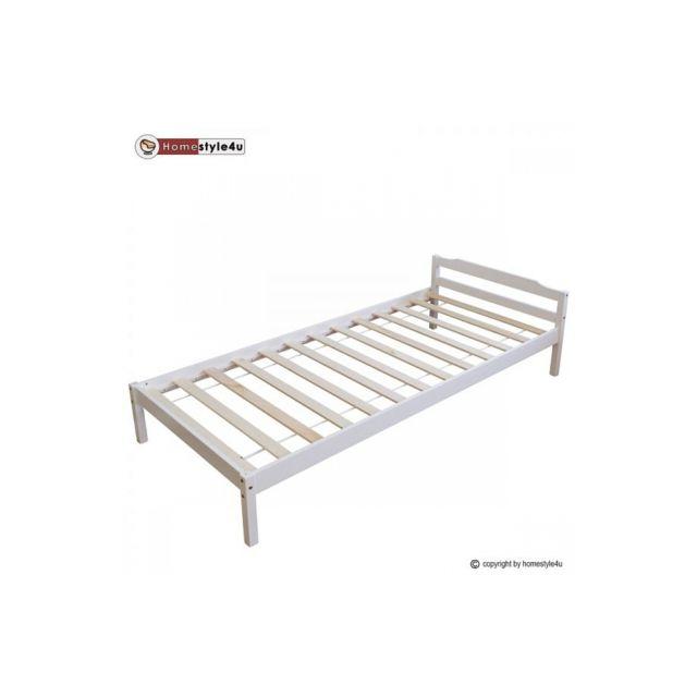 Homestyle4U Lit Simple Blanc 90x200