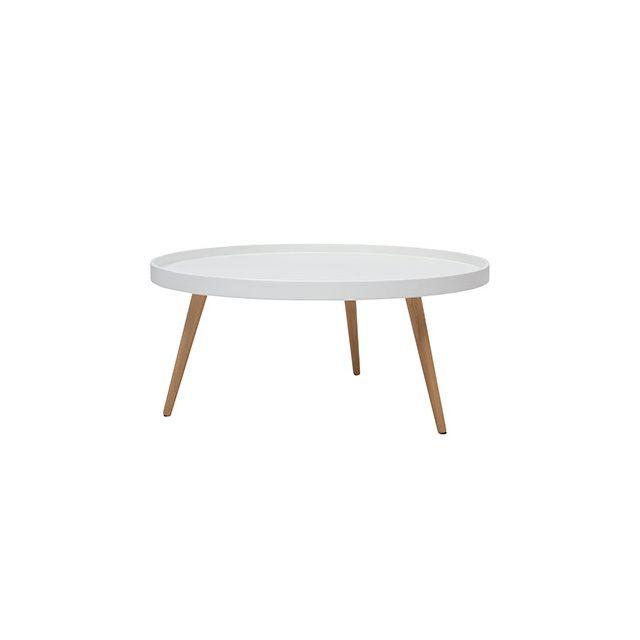 Table basse ronde 80diam en bois blanc