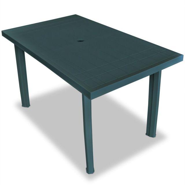 Vidaxl Table de jardin 126 x 76 x 72 cm Plastique Vert   Vert