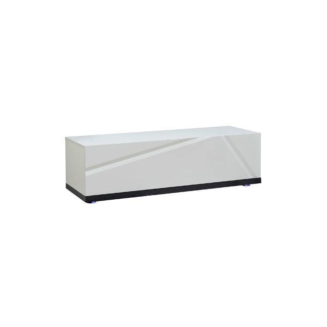 Elément bas à leds pour meuble Tv 130cm coloris blanc laqué et gris