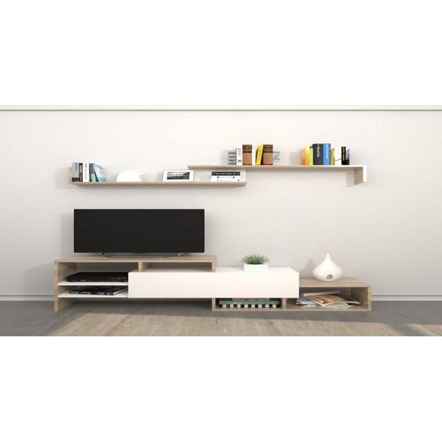 Homemania Meuble Tv Fenice - avec Étagères, Compartiments - pour Salon - Blanc, Sonoma en Bois, 150 x 27 x 45 cm