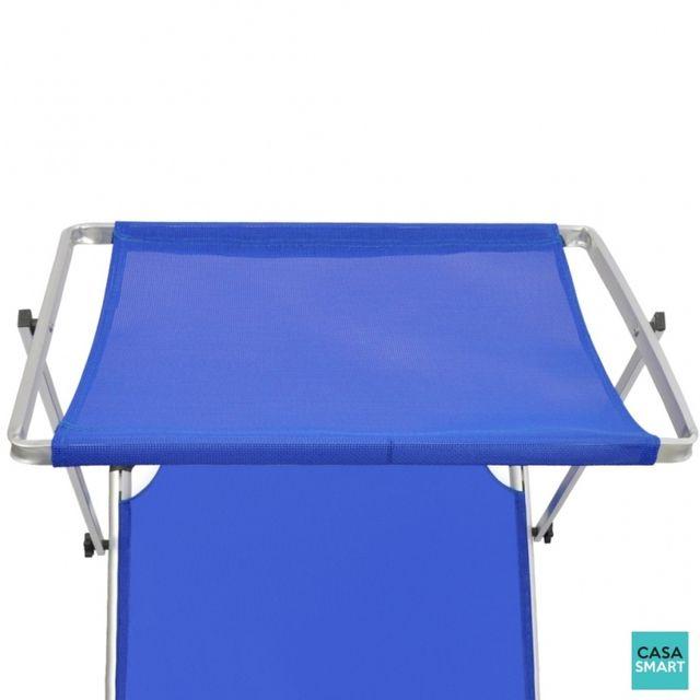 CASASMART - Transat bleu pliable avec auvent