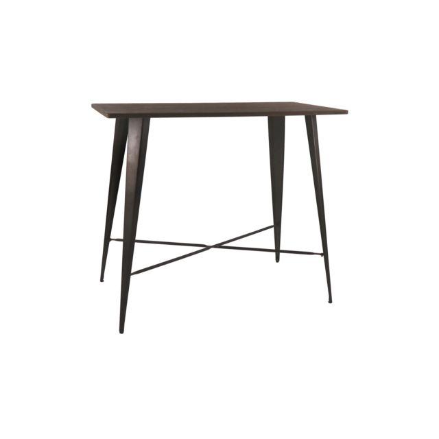 HELLIN Table bar en en bois et métal - LITO